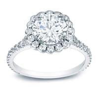 Auriya Platinum 1 1/2ct TDW Certified Round Diamond Halo Engagement Ring