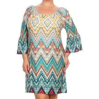 Women's Multicolored Polyester/Spandex Plus-size Shift-style Short-length Dress
