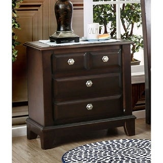 Furniture of America Hazelo Contemporary Cherry Solid Wood Nightstand