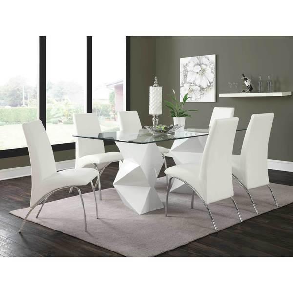 Archibald 7 Piece White Dining Set: Shop Coaster Company White Geometric Glass Dining Table