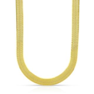 10k Yellow Gold 6mm Herringbone Chain Necklace