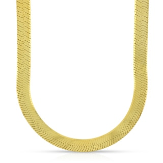 10k Yellow Gold 6.5mm Herringbone Chain Necklace