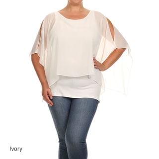 Women's Plus-size Solid-colored Polyester Flutter Tunic