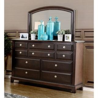Furniture of America Hazelo Contemporary 2-piece Brown Cherry 10-drawer Dresser and Mirrror Set