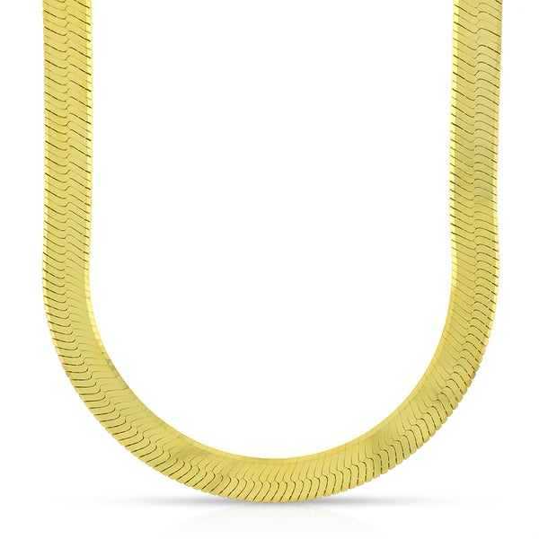 """10k Yellow Gold 8.5mm Imperial Herringbone Chain Necklace 20"""" - 24"""""""