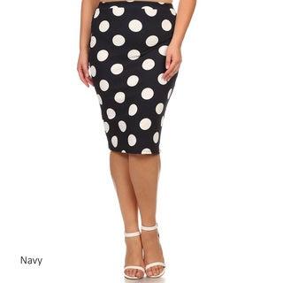White/Blue Polyester/Spandex Plus Size Polka Dot Skirt