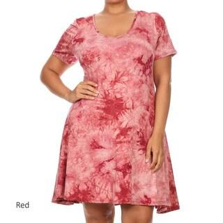 Women's Tie Dye Plus Size Short A-line Dress