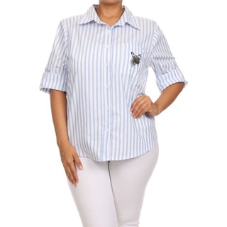 Women's Blue/White Cotton Plus-size Pinstripe Buttoned Top