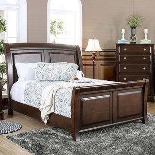Furniture of America Hazelo Contemporary Brown Cherry Curved Panel Sleigh Bed