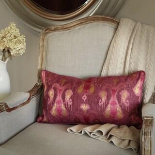 Bombay Ikat Tribal Magenta Polyester Lumbar Throw Pillow