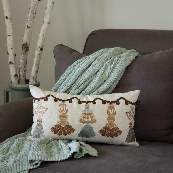 Shop Bombay Outlet India Tassels Lumbar Throw Pillow