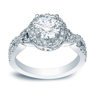 Auriya Platinum Certified 1ct TDW Round Diamond Braided Halo Engagement Ring