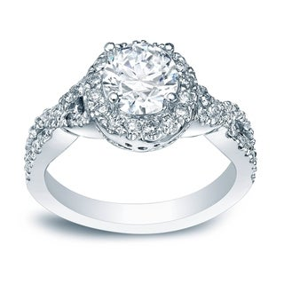 auriya platinum 1ct tdw certified round diamond braided halo engagement ring - Platinum Wedding Rings
