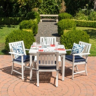 samana outdoor aluminum 5piece dining set with cushions by christopher knight home