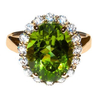 14k Yellow Gold Peridot and 7/8ct TDW Diamond Ring Size 6.5 (G,VS)