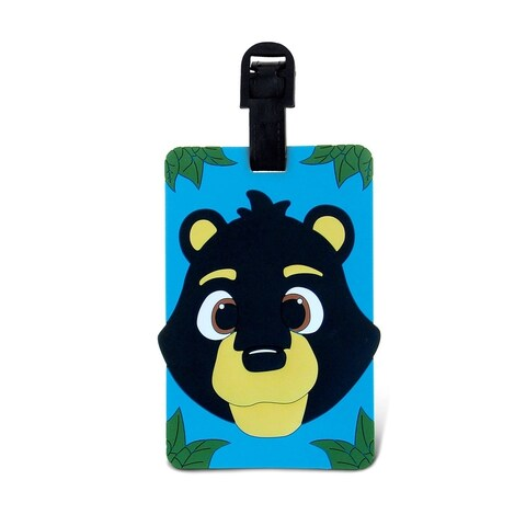 Puzzled Taggage Black Bear Multicolored Plastic Luggage Tag