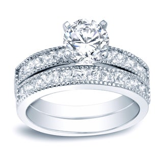 Auriya Platinum 2ct TDW Certified Round-Cut Diamond Bridal Ring Set