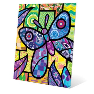 Quilted Butterfly' Purple Metal Wall Art