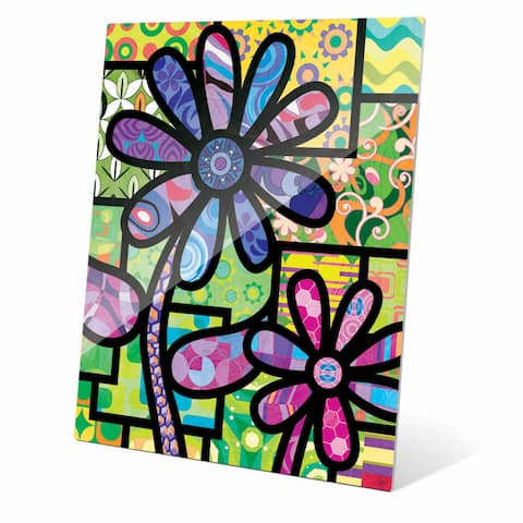 Quilted Flowers' Purple Acrylic Wall Art