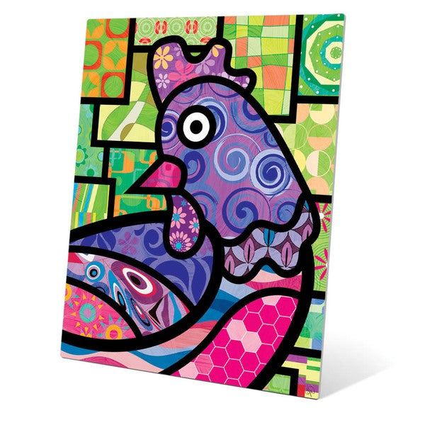 Quilted Purple Chicken\' Wall Art on Metal - Free Shipping Today ...