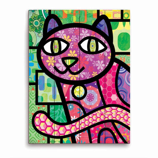 Quilted Purple Kitty Wooden Wall Art