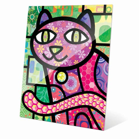 'Quilted Purple Kitty' Acrylic Wall Art