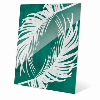 'Twirling Palm Leaves Teal' Glass Wall Art