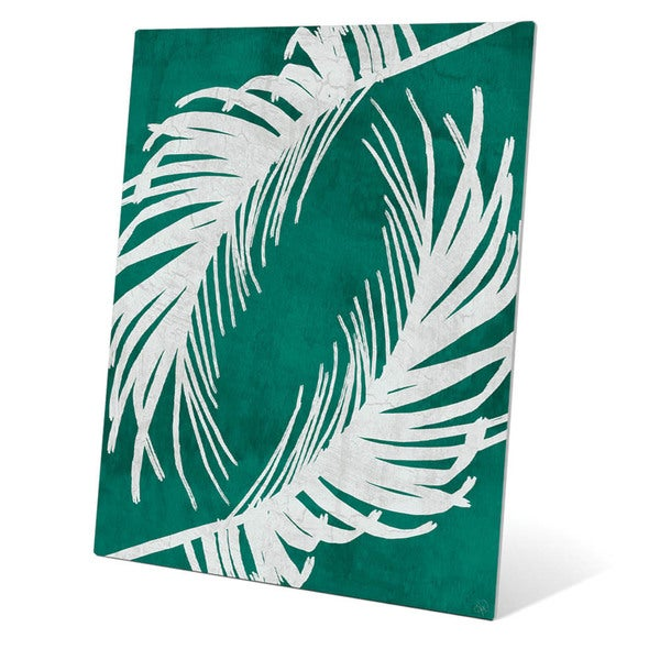 Shop Twirling Palm Leaves Teal Metal Wall Art On Sale