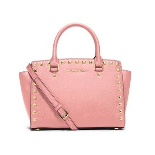 Michael Kors Selma Studded Saffiano Leather Medium Blossom Satchel Handbag