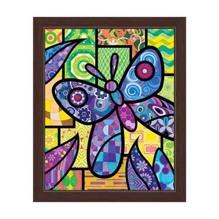 Quilted Butterfly' Purple Framed Canvas Wall Art