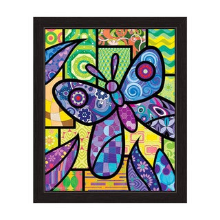 'Quilted Butterfly' Purple-framed Canvas Wall Art