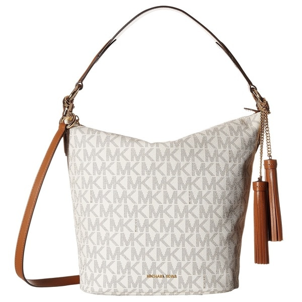 5a5b1c12979f Shop Michael Kors Elana Large Vanilla Logo Shoulder Handbag - Free ...