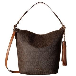 Michael Kors Elana Large Brown Logo Shoulder Handbag