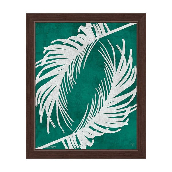 'Twirling Palm Leaves' Teal Framed Canvas Wall Art