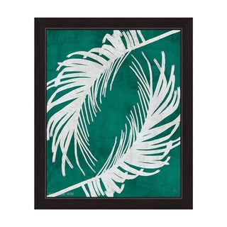 Twirling Palm Leaves Teal/White Framed Canvas Wall Art
