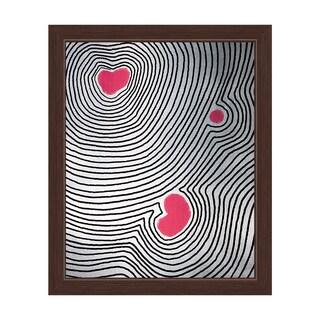 'Pink Echoing Heart' Framed Canvas Wall Art