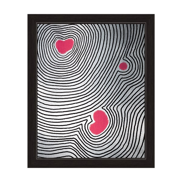 Pink Echoing Heart' Framed Canvas Wall Art