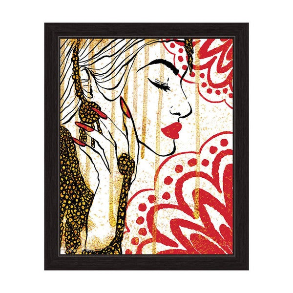 'Red and Gold Glamour' Framed Canvas Wall Art