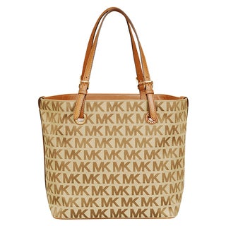 Michael Kors Jet Set Beige/ Ebony/ Luggage Grab Bag