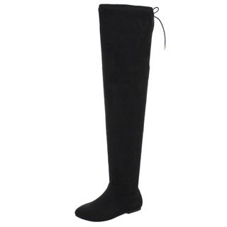 NATURE BREEZE FD72 Women's Stretchy Thigh High Flat Heel Boot Half Size Small