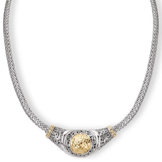Avanti Sterling Silver and 18K Yellow Gold Hammered Cirlce Statement Necklace