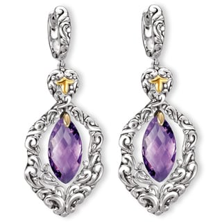 Avanti Sterling Silver and 18K Yellow Gold Marquise Cut Amethyst Dangle Earrings