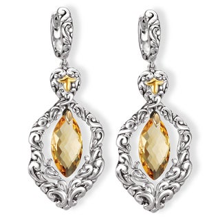Avanti Sterling Silver and 18K Yellow Gold Marquise Cut Citrine Dangle Earrings