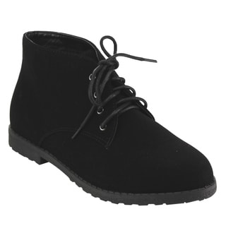 Top Moda EC98 Women's Lace-up Lug Sole Low-heel Chukka Ankle Booties