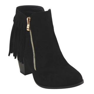 Top Moda EC97 Women's Fringe Trim Side Zipper High-stacked Chunky Ankle Booties
