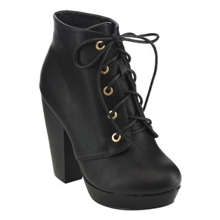 Top Moda EC94 Women's Black/Tan Faux Leather Platform Lace-up High Chunky Stack Heel Bootie
