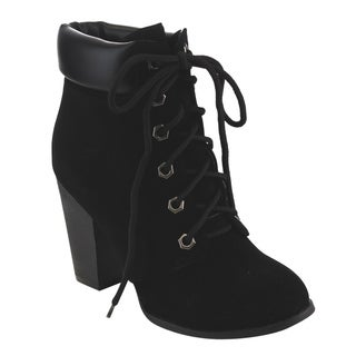 Top Moda EC91 Women's Lace-up Stacked High-heel Ankle Booties
