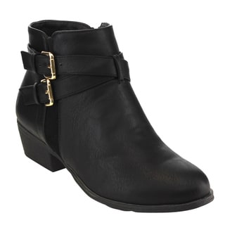 Top Moda Women's EC88 Faux Leather Criss-cross Buckle-strap Low Chunky Ankle Booties