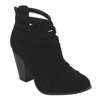 Top Moda Women's Caged Cut Out High Chunky Stacked Heel Dress Ankle Bootie