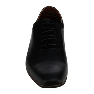 Ferro Aldo Men's Brown Faux-leather Lace-up Stitched Slip-on Dress Oxfords